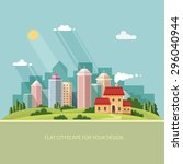 cityscape   summer. country...   Shutterstock .eps vector #296040944