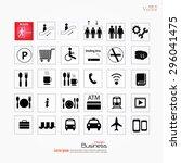 set of vector airport shopping...   Shutterstock .eps vector #296041475