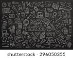 school and education doodles... | Shutterstock .eps vector #296050355