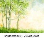 birch trees watercolor vector... | Shutterstock .eps vector #296058035