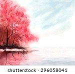 watercolor autumn background... | Shutterstock .eps vector #296058041