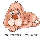 sad brown puppy dog in isolated ... | Shutterstock . vector #29605978