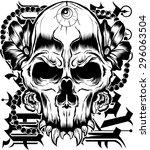 vector tattoo skull | Shutterstock .eps vector #296063504