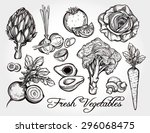fresh vegetables set vintage... | Shutterstock .eps vector #296068475