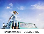 teenage friends on a road trip... | Shutterstock . vector #296073407