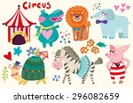 wonderful set of circus and... | Shutterstock .eps vector #296082659