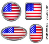 usa flag badge set. vector... | Shutterstock .eps vector #296089484