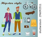 hipster girl and man in... | Shutterstock .eps vector #296092511