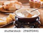 cheese fondue traditional swiss ... | Shutterstock . vector #296093441