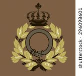 crown and laurel badge ...   Shutterstock .eps vector #296098601
