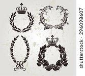 set of crown and laurel wreath... | Shutterstock .eps vector #296098607