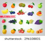 stickers with fruits and... | Shutterstock .eps vector #296108831