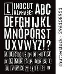 lino cut alphabet | Shutterstock .eps vector #296108951