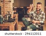 happy client in barber shop... | Shutterstock . vector #296112011