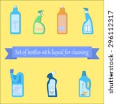 set of different bottles with... | Shutterstock .eps vector #296112317