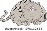 a fat lazy cat laying on the...   Shutterstock .eps vector #296112665