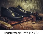 shoe care accessories on a... | Shutterstock . vector #296115917