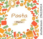 different kinds of pasta... | Shutterstock .eps vector #296120414