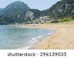 glyfada beach at corfu greece... | Shutterstock . vector #296139035