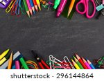 school supplies double border... | Shutterstock . vector #296144864