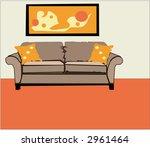 interior design retro style home - stock vector