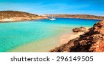 the blue lagoon on comino... | Shutterstock . vector #296149505