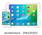 front view of white apple ipad... | Shutterstock . vector #296150351