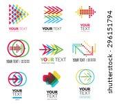 vector set of modern abstract... | Shutterstock .eps vector #296151794