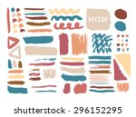 hand drawn textures and brushes ... | Shutterstock .eps vector #296152295