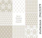 set of eight seamless damask... | Shutterstock .eps vector #296152379