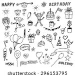 set of decoration happy... | Shutterstock .eps vector #296153795