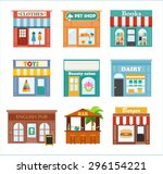 Stock vector stores and shops icons set with clothes pet books dairy toys shop beauty salon english pub 296154221