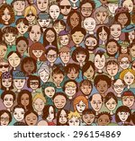 happy people   hand drawn... | Shutterstock .eps vector #296154869