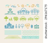 vector linear landscape icons... | Shutterstock .eps vector #296167175