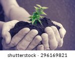 hands with tree | Shutterstock . vector #296169821