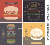 burger cards   hand drawn style.... | Shutterstock .eps vector #296174015