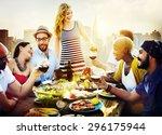 diverse people friends hanging... | Shutterstock . vector #296175944