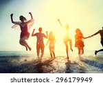friendship freedom beach summer ... | Shutterstock . vector #296179949