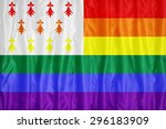 Small photo of Homo Atao flag pattern on fabric texture,retro vintage style