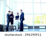 happy smiling business team in... | Shutterstock . vector #296190911