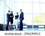 happy smiling business team in... | Shutterstock . vector #296190911