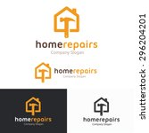 house  repairs shop logo... | Shutterstock .eps vector #296204201