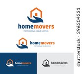 home movers   house relocation... | Shutterstock .eps vector #296204231