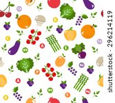 bright vegetable set in flat... | Shutterstock . vector #296214119