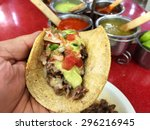 real mexican taco  | Shutterstock . vector #296216945