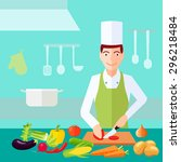 cooking process chef cut tomato ... | Shutterstock .eps vector #296218484