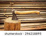 Old  Axe In Stump On The...