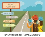 couple tourist reading map and... | Shutterstock .eps vector #296220599
