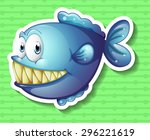 sticker of a blue fish smiling...