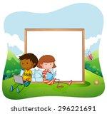 children sitting in a garden... | Shutterstock .eps vector #296221691